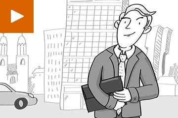Illustriertes Bild von einem Geschäftsmann vor einer urbanen Skyline, Zeichnung im Comicstil