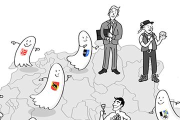 Illustriertes Bild von Schweizern die auf einer Karte der Schweiz stehen, kleiner Kantönli-Geister fliegen umher. Zeichnung im Comicstil