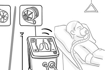 Illustriertes Bild von einem Menschen mit Beatmungsgerät im Krankenhausbett. Zeichnung im Comicstil