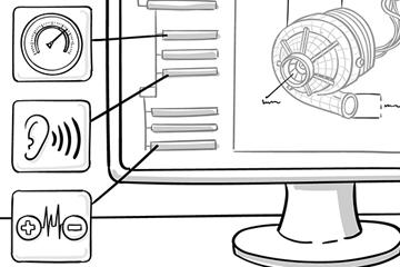 Illustriertes Bild von einem Computerbildschirm mit einer technischen Darstellung eines Belüftersystems. Zeichnung im Comicstil
