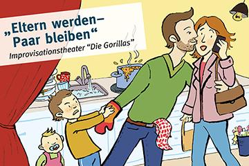 Illustrierte Zeichnung im Comic bzw. Kinderbuch Stil von einer Familie mit Kindern in der Küche und beim Einkaufen im Supermarkt
