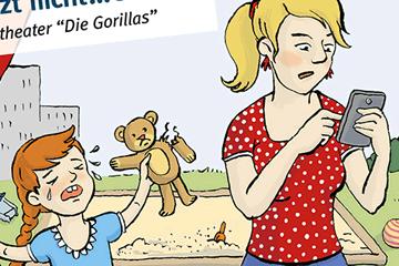 Illustrierte Zeichnung im Comic bzw. Kinderbuch Stil von einem Kind im Kinderzimmer und einer Mutter mit Kind auf dem Spielplatz