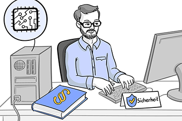 Illustrierte Zeichnung im Comic-Stil von Mann an seinem Schreibtisch der am Computer arbeitet. Auf dem Tisch liegt ein Gesetzbuch.