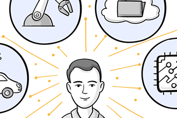 Illustrierte Zeichnung im Comic-Stil von Mann um den herum Icons angeordnet sind zu den Themen Digitalisierung, Robotik, Elektromobilität, Zukunft