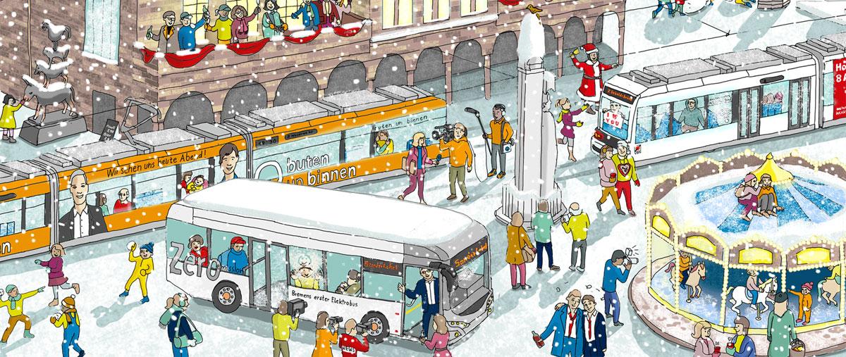 Wimmelbild Illustration von Illustratorin Ann-Kathrin Damm | Berlin | Motiv: BSAG Bremen (Ausschnitt)