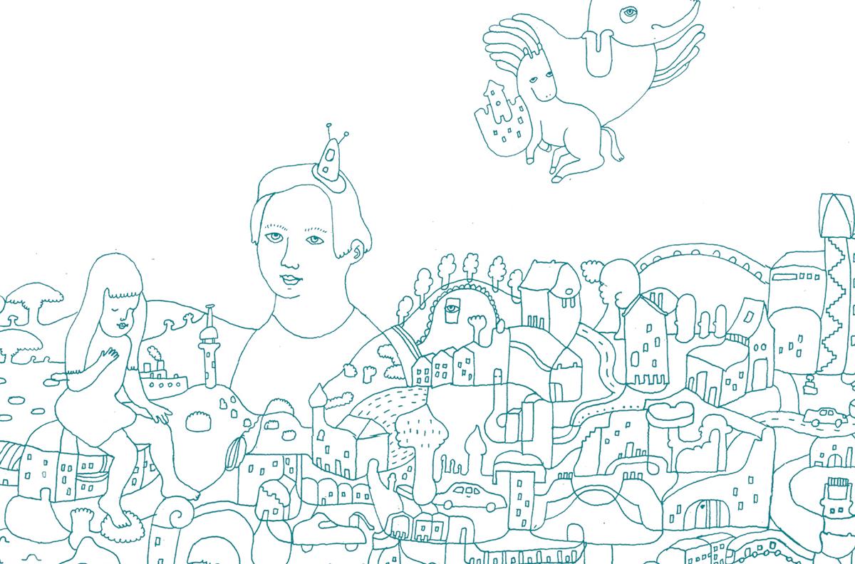 Illustration zum Thema Parallelwelt Fantasielandschaft von Illustratorin Ann-Kathrin Damm