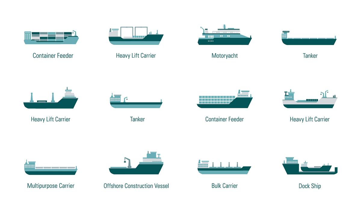 Illustration von Schiffen aus dem Portfolio von Zeichnerin Ann-Kathrin Damm aus Berlin - Projekt: Piktogramme Schiffsarten