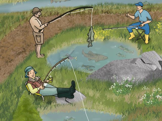 Illustration von Anglern aus dem Portfolio von Zeichnerin Ann-Kathrin Damm aus Berlin - Projekt: Angelmotiv im Kinderbuchstil