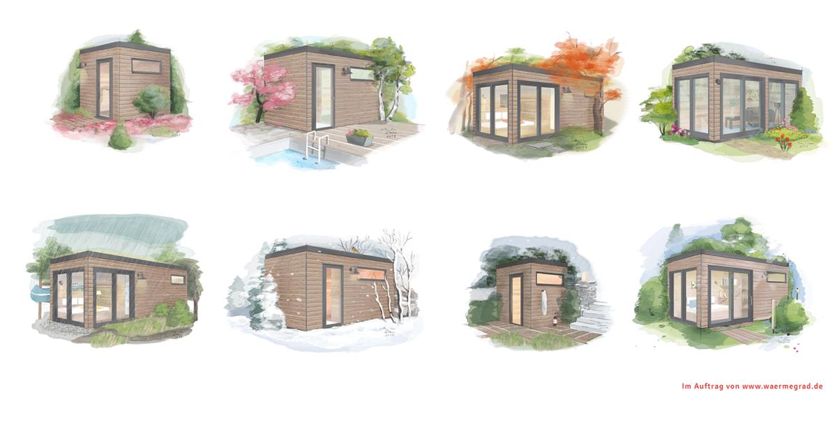 Acht Illustrationen zum Thema Saunahaus Wärmegrad von Illustratorin Ann-Kathrin Damm