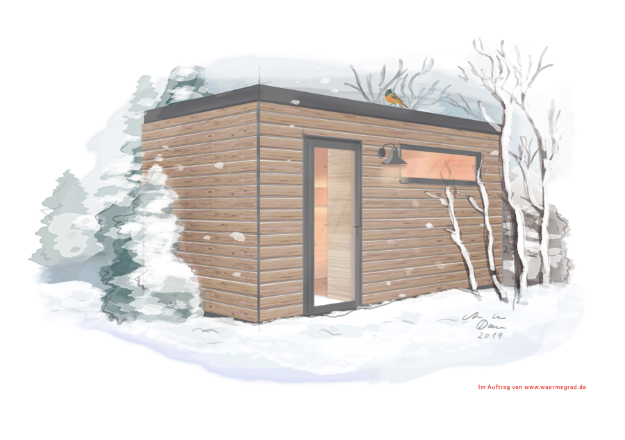 Illustration einer Sauna von Wärmegrad von Illustratorin Ann-Kathrin Damm Portfoliobeispiel